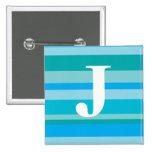 Monograma con un fondo rayado colorido - J Pin