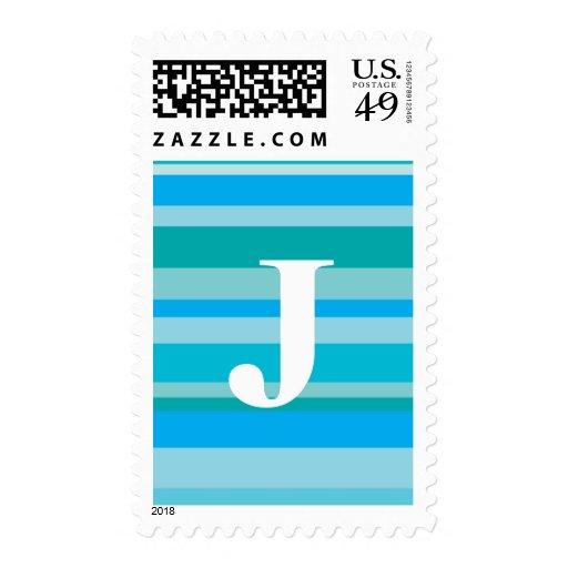 Monograma con un fondo rayado colorido - J Franqueo