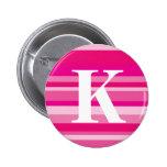 Monograma con un fondo rayado colorido - K Pins