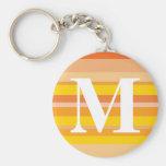 Monograma con un fondo rayado colorido - M Llaveros Personalizados