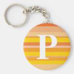 Monograma con un fondo rayado colorido - P Llaveros Personalizados