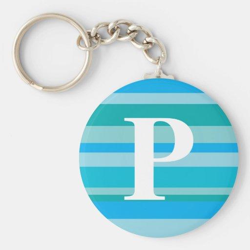 Monograma con un fondo rayado colorido - P Llavero Redondo Tipo Pin