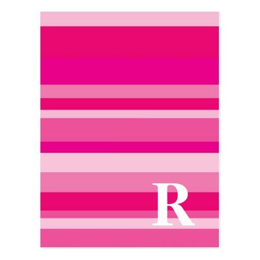 Monograma con un fondo rayado colorido - R Postal