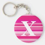 Monograma con un fondo rayado colorido - X Llavero Personalizado