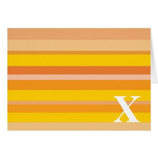Monograma con un fondo rayado colorido - X Felicitaciones