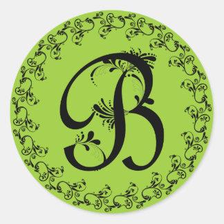 Monograma con volantes de B Etiqueta Redonda