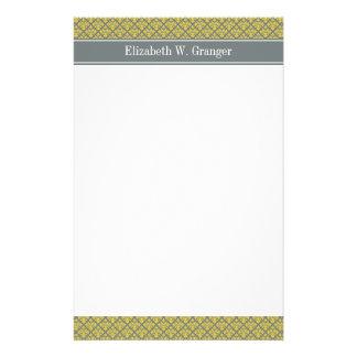 Monograma conocido amarillo del damasco #3 de la papelería personalizada