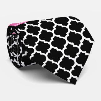 Monograma conocido blanco negro de las rosas corbata personalizada
