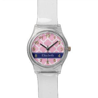 Monograma conocido blanco rosado de los azules relojes de mano