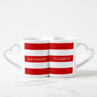 Monograma conocido de muy buen gusto horizontal set de tazas de café
