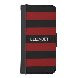 Monograma conocido de muy buen gusto negro marrón fundas cartera de iPhone 5