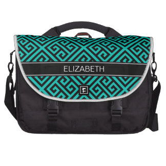 Monograma conocido dominante griego negro del bolsas de portátil