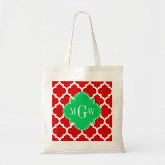 Monograma conocido esmeralda blanco rojo del bolsa lienzo