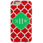 Monograma conocido esmeralda blanco rojo del funda de iPhone 6 plus tough