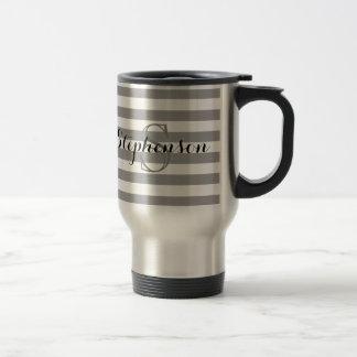 Monograma conocido gris/de plata personalizado taza térmica