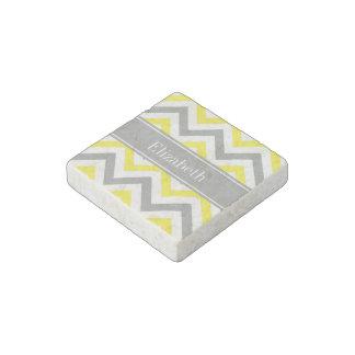 Monograma conocido gris gris amarillo de LG Imán De Piedra