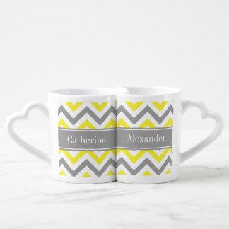 Monograma conocido gris gris amarillo de LG Set De Tazas De Café