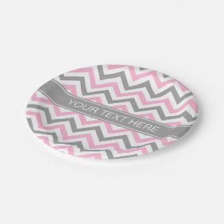 Monograma conocido gris gris rosado de LG Chevron Plato De Papel De 7 Pulgadas