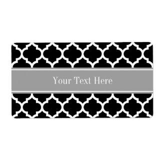 Monograma conocido gris oscuro blanco negro del etiqueta de envío