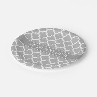 Monograma conocido gris oscuro marroquí #5 del plato de papel de 7 pulgadas