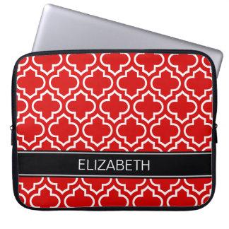 Monograma conocido negro blanco rojo del marroquí fundas computadoras