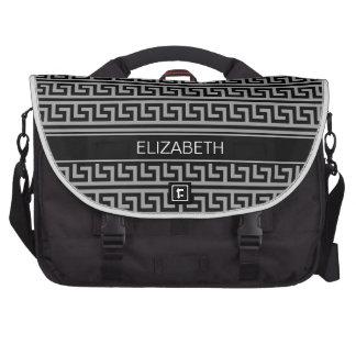 Monograma conocido negro griego de la llave #3 del bolsas de portátil