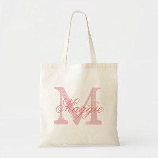 Monograma conocido personalizado rosa elegante bolsa tela barata