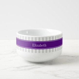 Monograma conocido púrpura de la raya del Lt blanc Bol Para Sopa