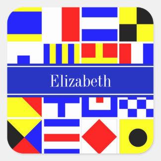Monograma conocido real colorido de las banderas pegatina cuadrada