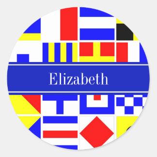 Monograma conocido real colorido de las banderas pegatina redonda