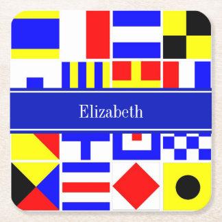Monograma conocido real colorido de las banderas posavasos de cartón cuadrado