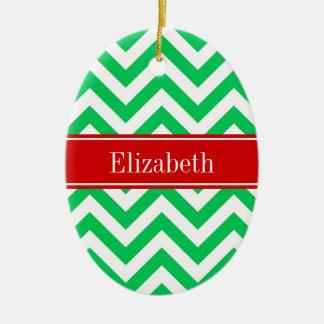 Monograma conocido rojo blanco esmeralda de adorno navideño ovalado de cerámica