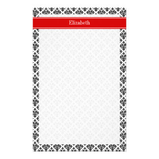 Monograma conocido rojo blanco negro del damasco papeleria