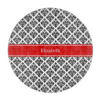Monograma conocido rojo blanco negro del damasco tabla para cortar