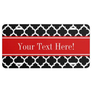 Monograma conocido rojo blanco negro del marroquí placa de matrícula