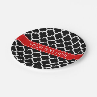 Monograma conocido rojo blanco negro del marroquí plato de papel de 7 pulgadas