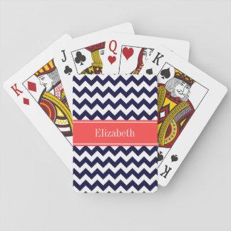 Monograma conocido rojo coralino blanco de Chevron Cartas De Póquer