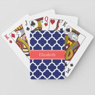 Monograma conocido rojo coralino blanco del marroq baraja de póquer