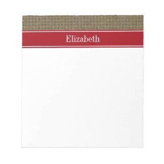 Monograma conocido rojo de la mirada del arándano bloc de papel