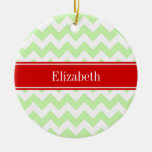 Monograma conocido rojo del zigzag blanco de adorno navideño redondo de cerámica