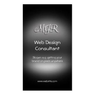 Monograma, consultor del diseño web, metal-mirada tarjetas de visita