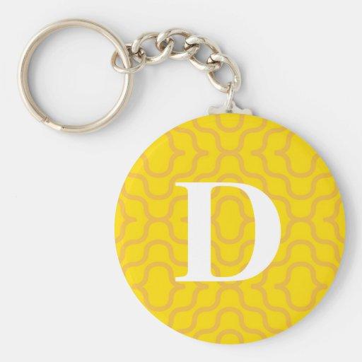 Monograma contemporáneo adornado - letra D Llaveros Personalizados