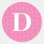 Monograma contemporáneo adornado - letra D Pegatina Redonda