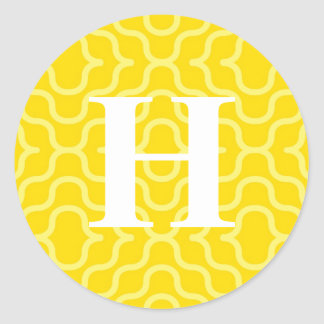 Monograma contemporáneo adornado - letra H Pegatina Redonda