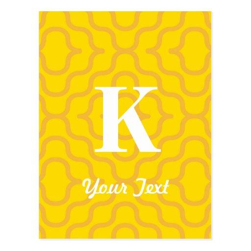 Monograma contemporáneo adornado - letra K Tarjeta Postal