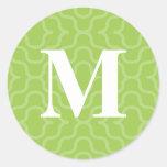 Monograma contemporáneo adornado - letra M Pegatinas Redondas