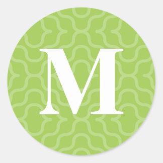 Monograma contemporáneo adornado - letra M Pegatina Redonda