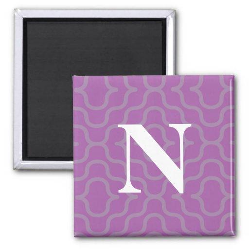 Monograma contemporáneo adornado - letra N Imán Cuadrado