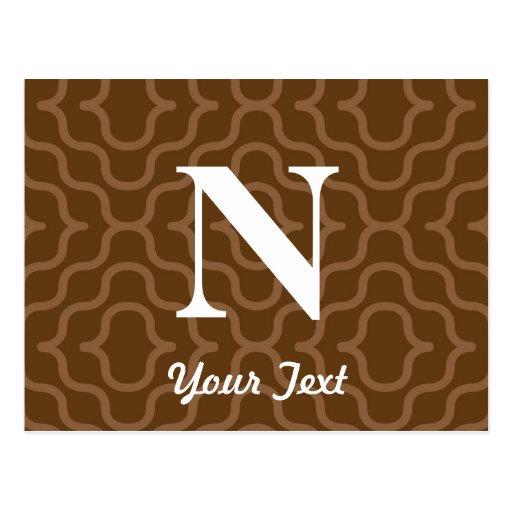 Monograma contemporáneo adornado - letra N Tarjetas Postales