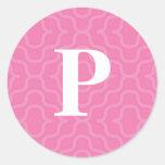 Monograma contemporáneo adornado - letra P Etiqueta Redonda